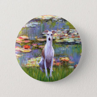 Whippet (brown-white) - Lilies 2 Pinback Button