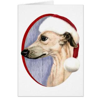 Whippet Christmas Fawn Santa Card