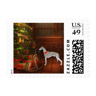 Whippet Christmas Postage Stamps