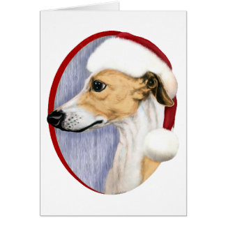 Whippet Christmas Tan & White Santa Greeting Cards