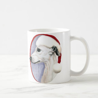 Whippet Christmas White Santa Coffee Mug