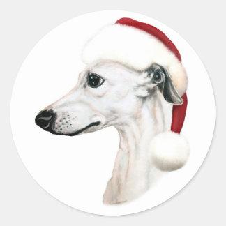 Whippet Christmas White Santa Round Stickers