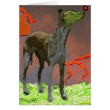 Whippet con la esfera roja 1 - tarjeta de felicita
