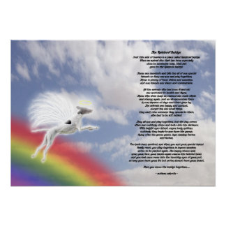 Whippet Dog Angel At Rainbow Bridge Poster