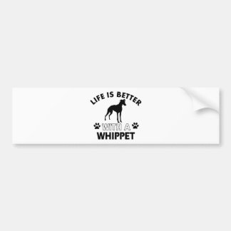 Whippet dog breed designs car bumper sticker