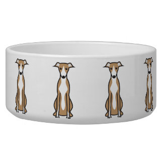 Whippet Dog Cartoon Bowl