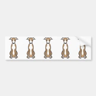 Whippet Dog Cartoon Bumper Sticker