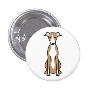 Whippet Dog Cartoon Button