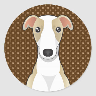 Whippet Dog Cartoon Paws Classic Round Sticker