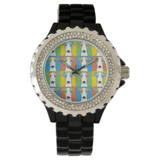 Whippet Dog Cartoon Pop-Art Wristwatch
