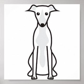 Whippet Dog Cartoon Poster