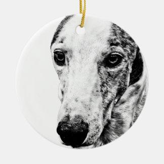 Whippet dog ceramic ornament