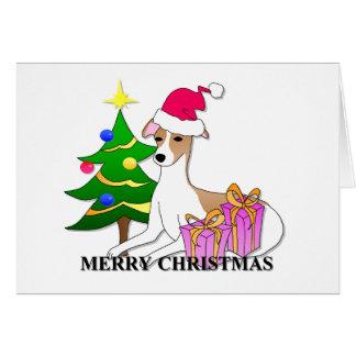 Whippet Dog Christmas Greeting Card