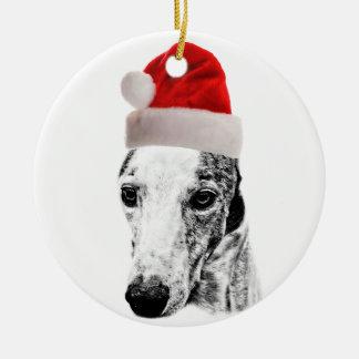 Whippet dog christmas ornament