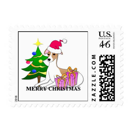 Whippet Dog Christmas Postage Stamps