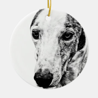 Whippet dog christmas tree ornament
