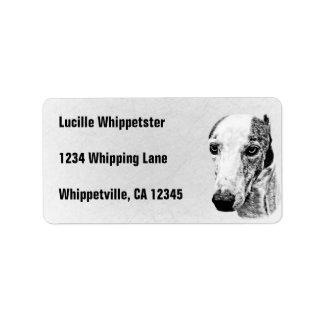 Whippet dog custom address label