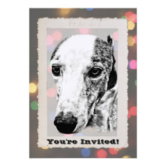 Whippet dog personalized invite