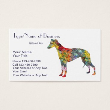 Professional Business Whippet Dog Silhouette Hound Art Fun Oil Painting Business Card
