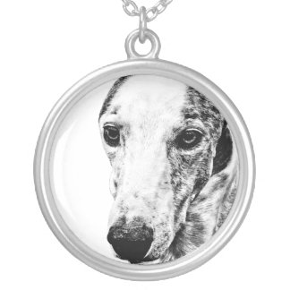 Whippet dog silver plated necklace