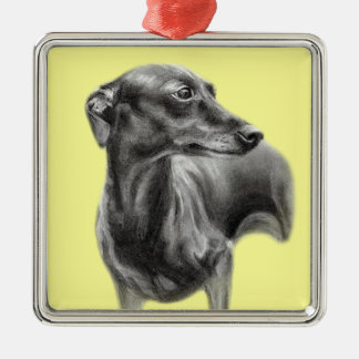 Whippet Drawing Metal Ornament