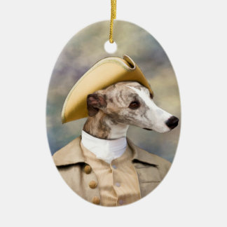 Whippet Gentleman with Hat  Ornament Oval