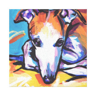 Whippet greyhound Bright Colorful Pop Dog Art Canvas Print