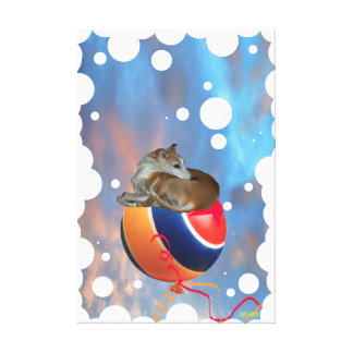 Whippet Hound on Balloon- Wrapped Canvas