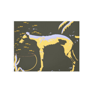 Whippet in Garden- Wrapped Canvas