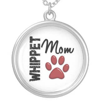 Whippet Mom Paw Print 2 Round Pendant Necklace