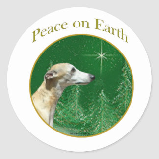 Whippet Peace Classic Round Sticker