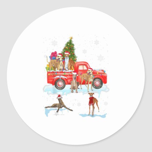 Whippet Riding Red Pickup Funny Whippet Classic Round Sticker