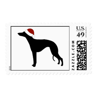 Whippet Santa Hat Postage Stamp
