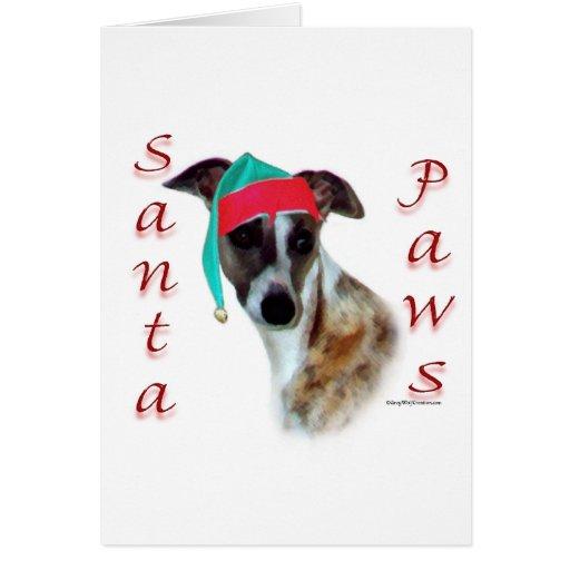 Whippet Santa Paws Card