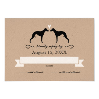 Whippet Silhouettes Wedding Reply RSVP Card