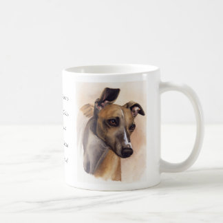 Whippet watercolor with breed information text coffee mug