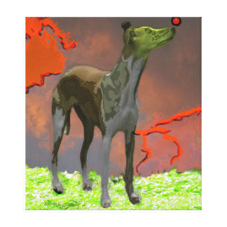 Whippet with Red Sphere - Painting Wrapped Canvas