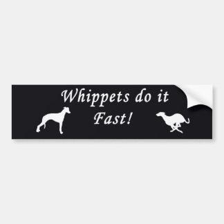 Whippets ayuna pegatina de parachoque