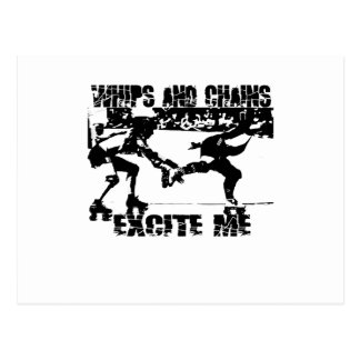 whips and chains excite me postcard
