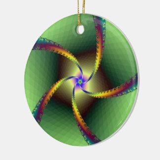 Whirligig in Green Ceramic Ornament