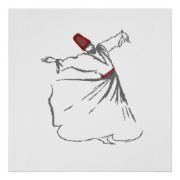 Whirling Dervish - Maroon Red Poster