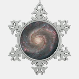 Whirlpool Galaxy (M51) and Companion Galaxy Snowflake Pewter Christmas Ornament