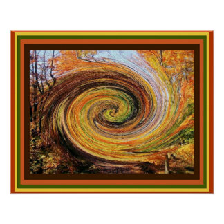 Whirlwind in a Fall Forest Poster