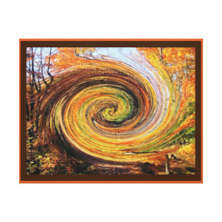 Whirlwind in a Fall Forest Wrapped Canvas