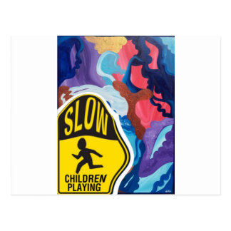 Whirlwind Slow Children Playing Postcard