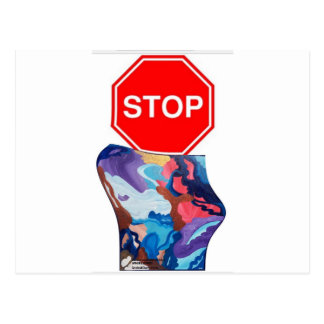Whirlwind Stop Sign Postcard