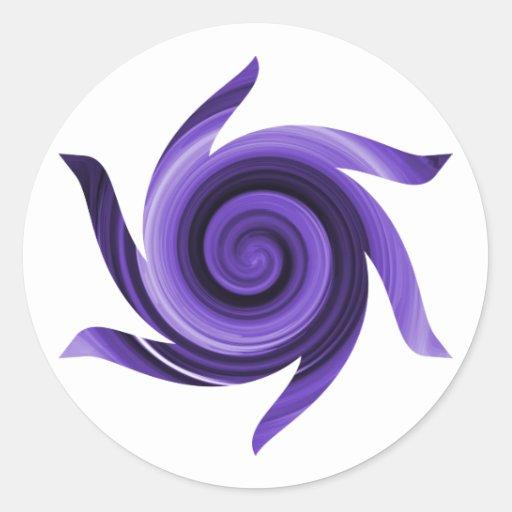 Whirly púrpura etiquetas redondas