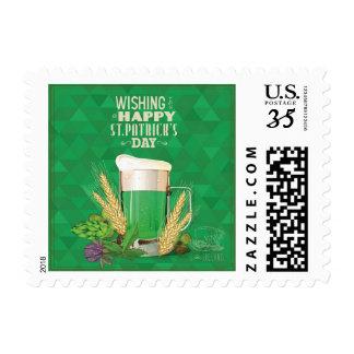 whishing le el día de un St Patrick feliz, verde, Sellos