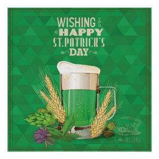 whishing you a happy st.patrick's day,green,beer, poster