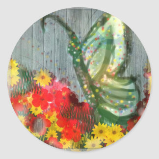 Whisical Butterfly Illustration Classic Round Sticker